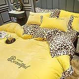 juego de funda nórdica negro,Invierno amarillo de doble cara polar suave estampado de leopardo funda nórdica falda de cama juego de 4 piezas sábana funda nórdica funda de almohada-UNA_Cama de 1,5 m (
