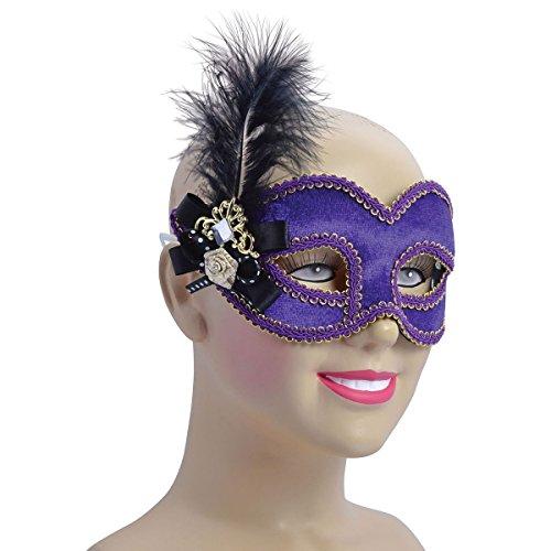 Purple Velvet + Tall Feather, Glasses Frame Mask, Fancy Dress, Accessory