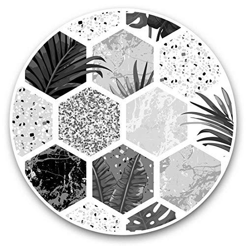 Impresionantes pegatinas de vinilo (juego de 2) 30 cm BW – Azulejos tropicales flores hojas niñas divertidas calcomanías para portátiles, tabletas, equipaje, libros de recortes, neveras, regalo fresco #36885