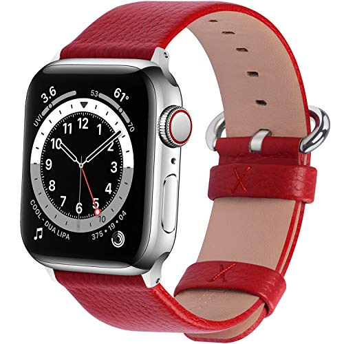 Fullmosa Correa Compatible Apple Watch 44mm 42mm 40mm 38mm, YAN 15 Colores Correa Cuero Pulsera para iWatch Series 6 5 4 3 2 1, Series SE, Rojo 42mm 44mm