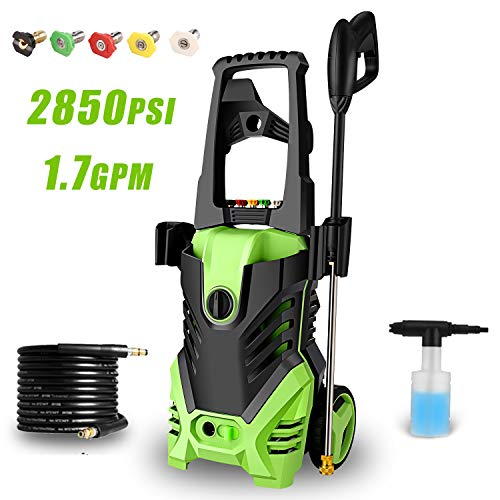Homdox 2850PSI Electric Pressure Power Washer 1.7GPM High Pressure Power Washer 1800W Machine Cleaner, 5 Nozzles (Green)
