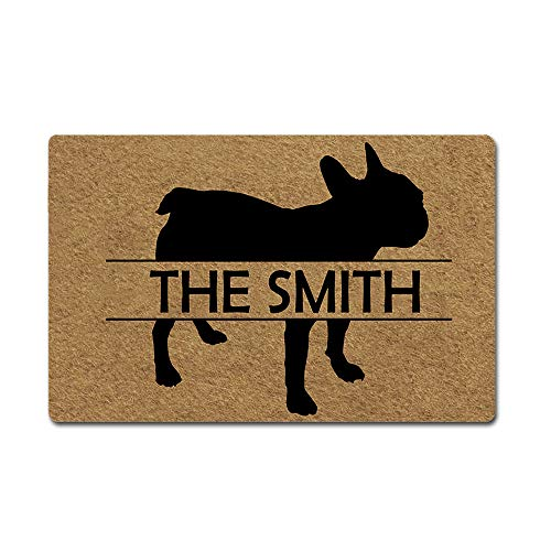 Artsbaba Custom Personalized Dog Door Mat Welcome Pet Mat Rubber Non-Slip Entrance Rug Floor Mat Home Decor Indoor Doormat 23.6 x 15.7 Inches, 3/16' Thickness - French Bulldog