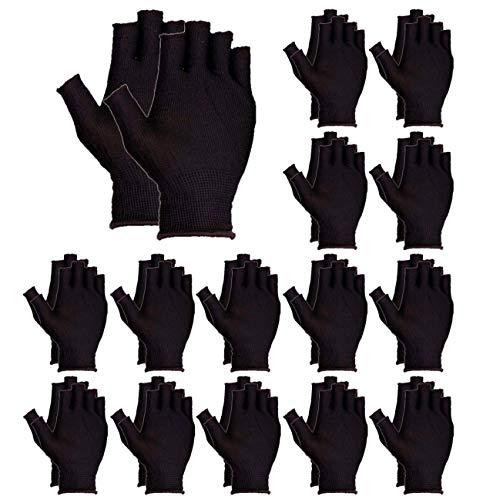heizi 指なし手袋 15双セット 軍手 滑り止め 加工 作業用 手袋 通気 吸汗 伸縮 手汗 対策 ガーデニング グローブ (黒)