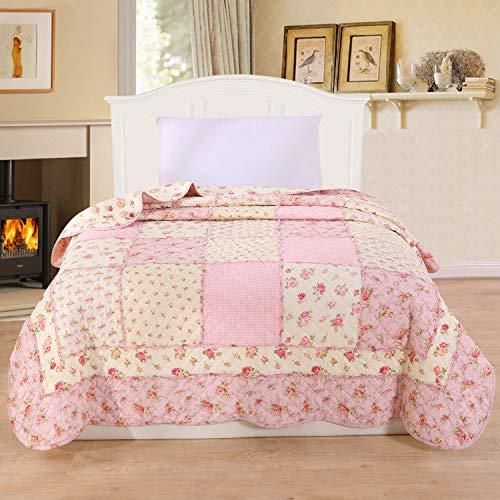 Alicemall Tagesdecke Boho Steppdecke Baumwolle Bettüberwurf 150x200cm Sofa Couch Wohndecke Sommerdecke Gesteppt Kinder Einzelbett Blumen Rosa