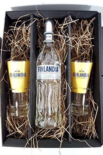 Finlandia Set/Geschenkset ? Finlandia Vodka of Finland 1L (40% Vol) + 2x Gläser 2/4cl geeicht