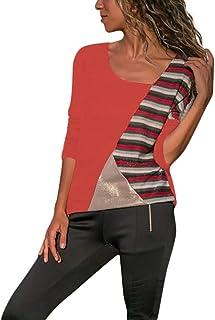 dd6b8bfdbce iQKA Plus Size Shirts for Women Stripe Patchwork Tunic Irregular O-Neck  Casual Long Sleeve