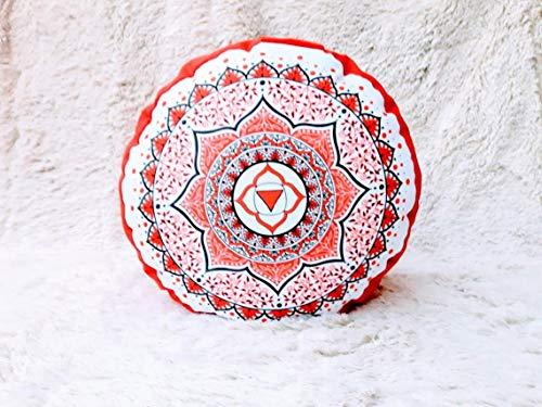 Zafu, cojín de meditación en Tonos Rojos y Blancos con Mandala Chakra 1, raíz, Muladhara diseñado por floresyabejas