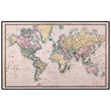 World Map Rugs for Bedroom Girls Original Old Hand Colored Map of The World Anthique Chart for Old Emperors Print Office Chair mat for Carpet Multicolor 6 x 7 Ft