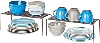 mDesign Juego de 2 estantes de cocina – Soportes para platos independientes de metal – Organizadores de armarios estrechos...