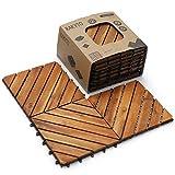 Wood Interlocking Flooring Tiles (12' x 12'), Solid Wood Acacia Deck Tiles Interlocking Outdoor, Patio Tiles Outdoor Interlocking Waterproof All Weather (8 Slat, Natural)