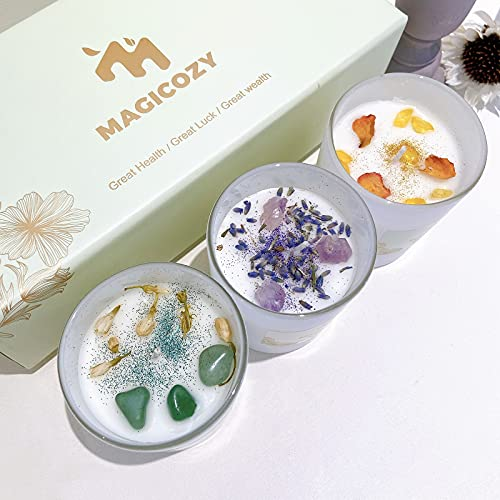 Scented Candles, Luxury Candles Gift Set of 3pcs Candles with Crystals Inside, Representing Great Health, Great Luck and Great Wealth, Candle giftbox for You and Your Families & Friends
