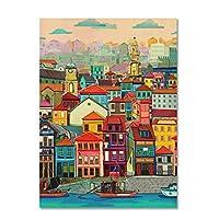 FSRYBH アートパネル カラフルな家の水ヴィンテージポスター都市の風景北欧アートキャンバスプリント絵画壁の写真モダンなホム装飾19.7x27.6in(50x70cm)x1pcsフレームなし