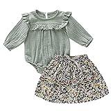 Cuteelf Mädchen Kinder langärmeligen Saum Strampler Kleidung + Print Rock Neugeborenen Kinderkleidung gekräuselt gedruckt langärmeligen Overall Rock Anzug