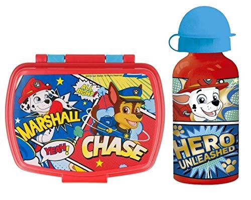 CM Set van aluminium waterfles en lunchbox voor kinderen, voor meisjes, lekvrij, BPA-vrij, 400 ml (blauw pat)
