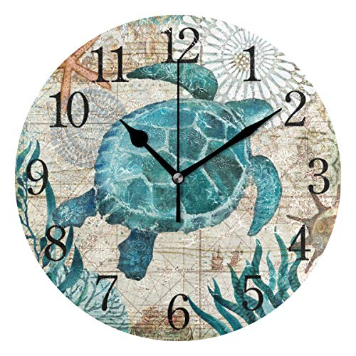YYYJIA Turtle Green Waterweeds Circular 9 Inch Silent Wall Clock Battery Operated Non-Ticking, Vintage Frameless Acrylic Wall Clocks for Living Room Dining Room Bathroom Kitchen Bedroom Decor