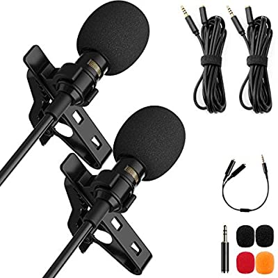 Lavalier Lapel Microphone Set Professional Omnidirectional Condenser Grade Audio Video Recording Mic 3.5mm for Android Phone PC Camera for Interview YouTube Video Conference Podcast