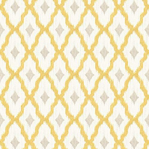 Papel pintado tnt estilo oriental amarillo gris blanco 961973 96197-3 Architects Paper Tessuto 2 | amarillo/gris/blanco | Rollo (10,05 x 0,53 m) = 5,33 m²