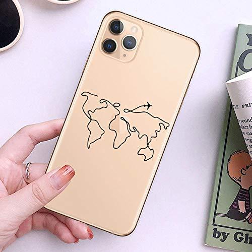 LIUYAWEI World Map Travel Soft TPU Fundas para teléfono para iPhone 12 Pro XS MAX XR 7 8 Plus 6S Plane Cover para iPhone 11 SE2020,22040, para iPhone 11 Pro