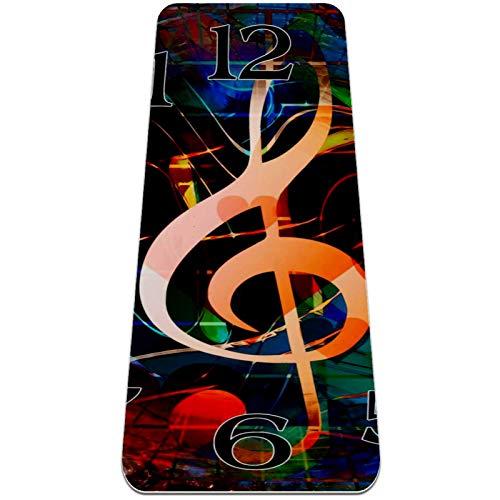Esterilla Yoga Mat Antideslizante Profesional - Reloj de notas musicales - Colchoneta Gruesa para Deportes - Gimnasia Pilates Fitness - Ecológica
