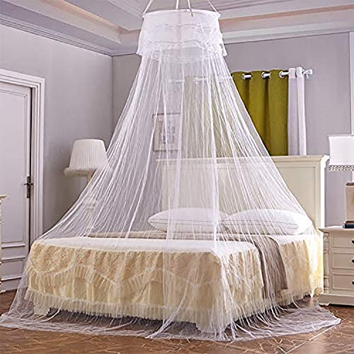 ZXD Household Circular Suspended Ceiling Mosquito Net Princess Tents Delicate And Beautiful Bedding,White