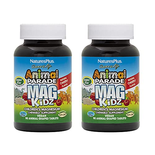NaturesPlus Animal Parade MagKidz, Natural Cherry Flavor - 90 Animal-Shaped, Chewable Tablets - Pack of 2 - Bone & Muscle Health Support - Non-GMO, Vegan, Gluten Free, Sugar Free - 90 Total Servings