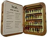 Bamboo Presentation Irish Wet Fly Selection - Mosca Seca de Pesca con Mosca, Color marrón