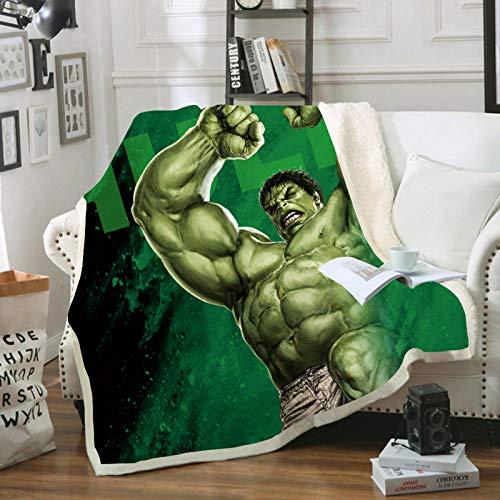 BATTE Marvel Avengers Fleecedecke Hulk, Spiderman, Capitan America, Thor, Iron Man, für Picknicks oder Camping (E,150 x 200 cm)