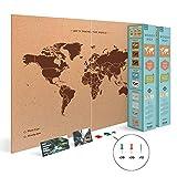 Miss Wood Woody Map XXL–Karte der Welt-Kork mit Design My World, braun