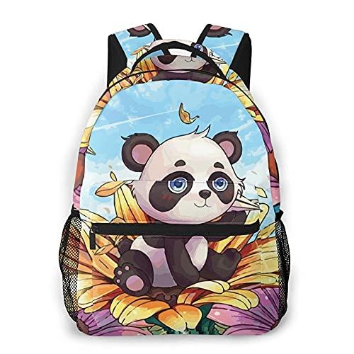 Bokueay Panda con flores Mochila informal Mochila de ocio de moda Mochila adolescente Mochila de viaje con estampado