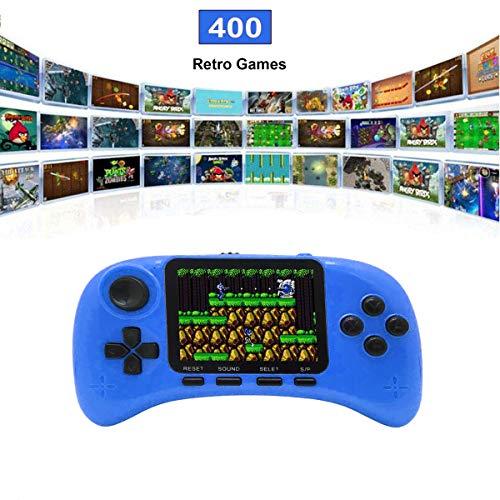 Lychee Handheld Konsole Retro, Handheld Spielkonsole,Mit 400 Klassische Spielen ,3-Zoll-LCD Bildschirm,Videospielkonsole Unterstützt das Anschließen an den TV-Anschluss,Für Kinder/Erwachsene (Blau)