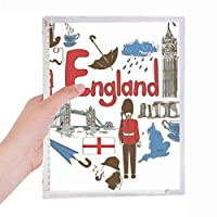 イングランドの愛の心の英国国旗 硬質プラスチックルーズリーフノートノート