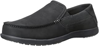 Crocs Men's Santa Cruz 2 Luxe Leather M Slip-On Loafer, Black/Black, 7 M US