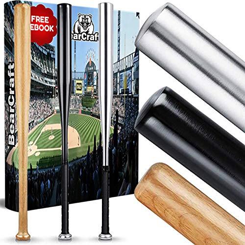 BearCraft Baseballschläger aus Holz oder Aluminium | Mit 79 cm Länge auch zur Selbstverteidigung ideal - Solide verarbeitet (Schwarz (Aluminium), 79)