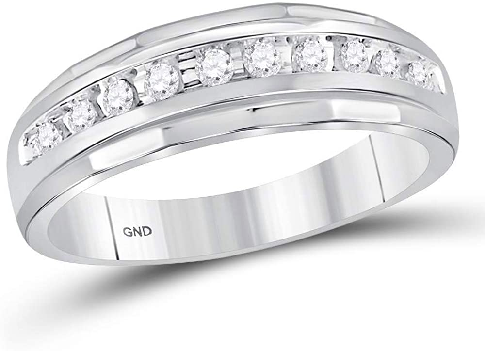 Dazzlingrock Collection 10kt White Gold Mens Round Diamond Single Row Grooved Wedding Band Ring 1/4 ctw