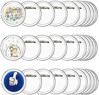 FOGAWA 30pcs Badges Personnalisés Badge Rond Faire Ses Badges Transparent en Acrylique Diamètre de 60mm pour DIY Mariage