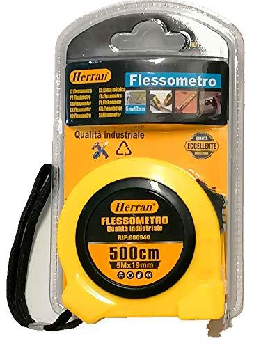 Herran Cinta métrica de 5 metros de cinta métrica de 5 m x 19 mm, clip para cinturón, gancho magnético, peso = 155 gramos