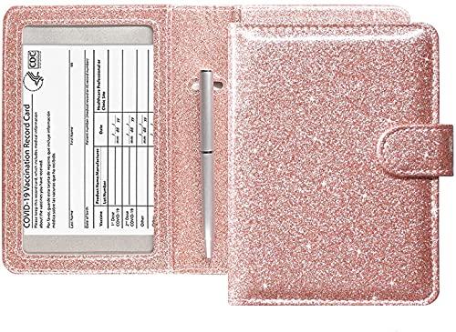 Combinación de Funda para Pasaporte 6 en 1 y Tarjeta de Vacuna, Estuche Protector de Tarjeta de Bloqueo RFID de Cuero ultradelgado portátil con Soporte para bolígrafo, boleto aéreo (Glitter Rose)