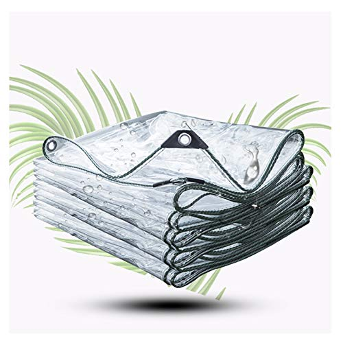 WHAIYAO Lona Transparente Espesar 0.3MM PVC Al Aire Libre Balcón Proteccion Solar Paño De Lluvia Esquina De Borde con Cordón, Personalización De Soporte (Color : Clear, Size : 3X4M)