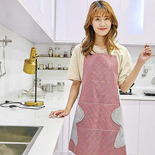 Dtcat Küchen- und Kochschürze für Damen,wasserdichte Küchenschürze mit Verstellbarer Halfter-Schürze,wasserdicht und rot abwischbar,verstellbare Kochschürze mit Taschen