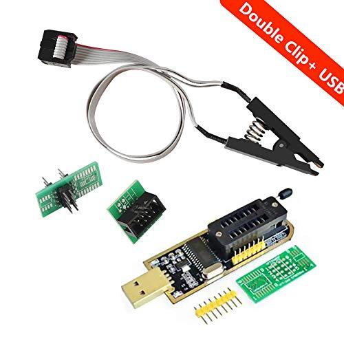Organizer SOIC8 SOP8 Flash Chip IC Test Clips Socket Adpter Programmer BIOS + CH341A 24 25 Series EEPROM Flash BIOS USB Programmer Module (Double Clip+ USB)
