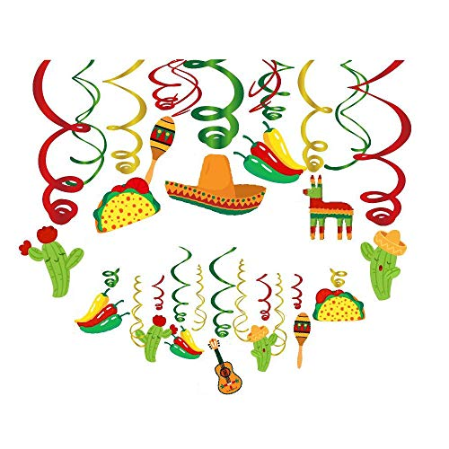 Kristin Paradise 30Ct Mexican Hanging Swirl Decorations, Fiesta Cinco De Mayo Party Supplies, Taco Twosday Birthday Theme, First 1st Boys Girls Baby Shower Paper Decor, Sombrero Cactus Kids Favors