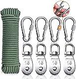 Shengruili Riemenscheibe Roller für Seile 20M,Edelstahl Flaschenzugrolle,4 Stück M15 Umlenkrolle,Umlenkrolle stahlseil,Flaschenzug Rolle mit Seil