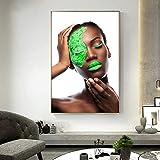 AQgyuh Puzzle 1000 Piezas Negro, Verde, Desnudo, Arte Africano, Mujer Puzzle 1000 Piezas Gran Ocio vacacional, Juegos interactivos familiares50x75cm(20x30inch)