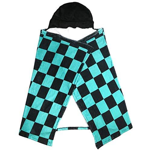 DERAYEE ブランケット 肩掛け 防寒 子供用 着る毛布 かわいい 仮装 もこもこ 100*160cm (格子柄)