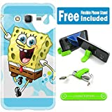 [Ashely Cases] For Samsung Galaxy On5 Cover Case Skin with Flexible Phone Stand - Spongebob Skyblue V