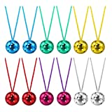 WJBB Disco Ball Necklaces Mirror Colorful Disco Party Necklaces 70s Disco Theme Party Decorations, Halloween, Christmas Party Gifts and Supplies,12 Pieces