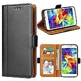 Bozon Galaxy S5 Hülle, Leder Tasche Handyhülle für Samsung Galaxy S5 (S5 Neo) Schutzhülle Flip Wallet mit Ständer & Kartenfächer/Magnetverschluss (Schwarz)