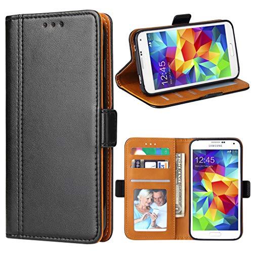 Bozon Galaxy S5 Hülle, Leder Tasche Handyhülle für Samsung Galaxy S5 (S5 Neo) Schutzhülle Flip Wallet mit Ständer und Kartenfächer/Magnetverschluss (Schwarz)