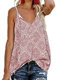 BLENCOT Women Cute Sleeveless Shirts Blouses Boho Print V Neck Spaghetti Strap Fashion Cami Tank Top Pink 2XL