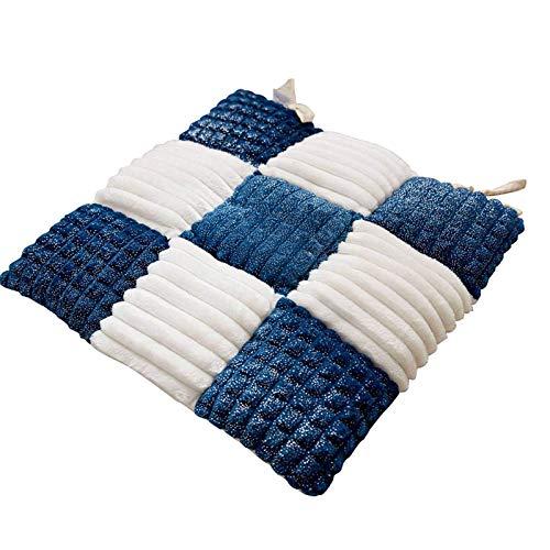 MFLASMF Cuscino per Sedia Peluche Tartan Griglia a Quadretti Plaid a Quadretti, Cuscino per Sedile Inverno Addensato Cuscino per Sedia Cuscino per Sedia con Cinghie per Sedia da Pranzo Quadrato-Blu